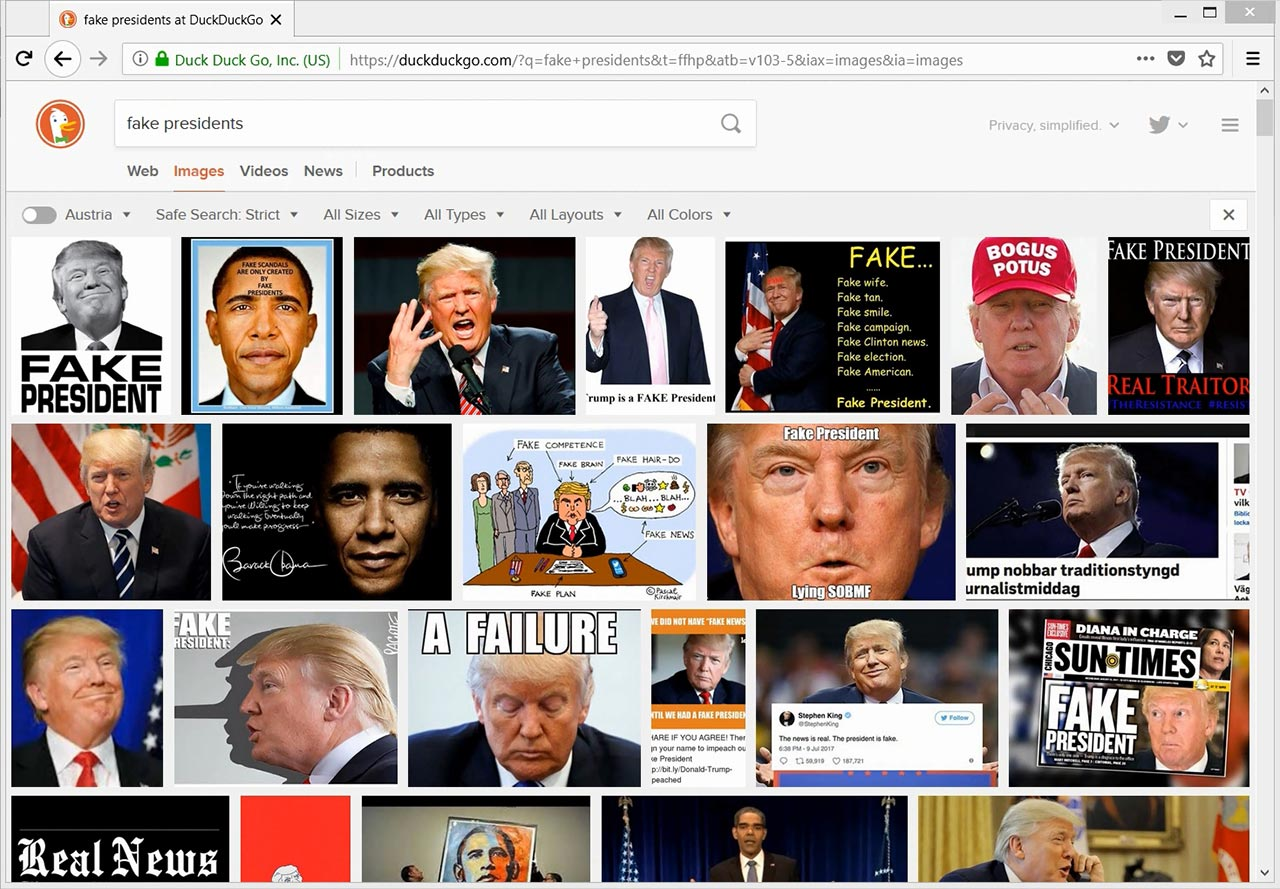 How to Hide Fake Presidents Supposed by a Search Engine from Observer's Eyes and How Search Engine Brings Them Back